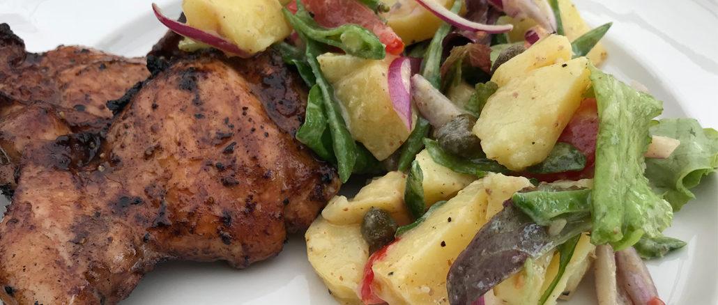 Grillade kycklinglårfiléer med fransk potatissallad