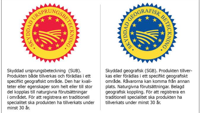 Ursprungsbeteckningar SUB och SGB
