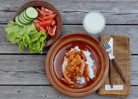 Korv stroganoff med gott ris och som krämig gryta