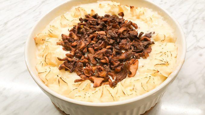 Gratinerad rödtunga med chablissås och kantareller -det du!
