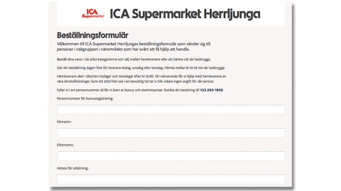 ICA Supermarket -levererar hem