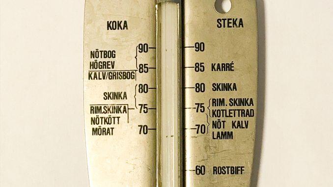 Analog stektermometer med angiva innertemperaturer