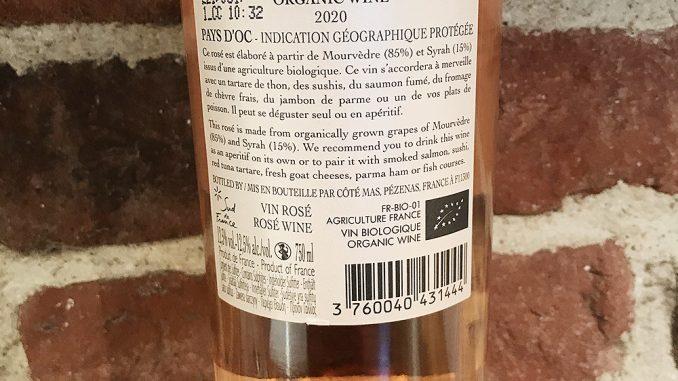 Côté Mas Organic Rosé från Frankrike -back